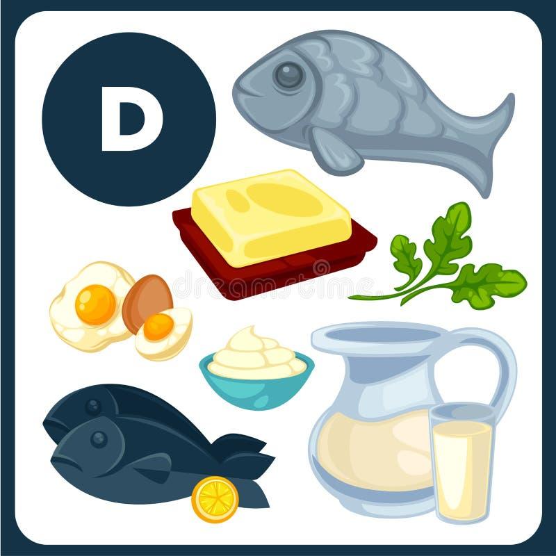 Ejemplos de la comida con la vitamina D stock de ilustración