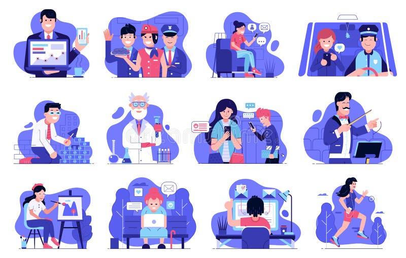 Ejemplos de la experiencia del usuario con la gente de las TIC ilustración del vector
