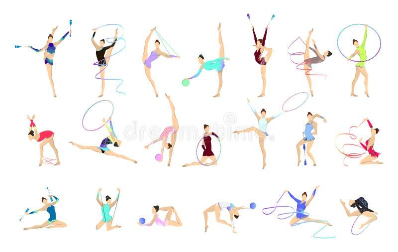 Ejemplos de la gimnasia fijados stock de ilustración