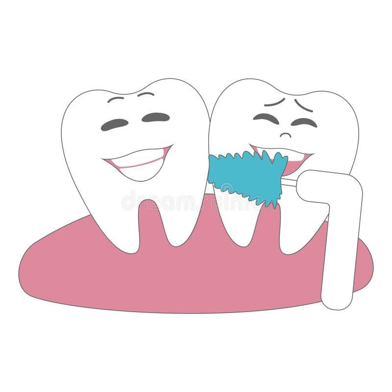 Ejemplos de la historieta de dientes lindos y divertidos en boca Cartel dental con el cepillo de dientes Higiene del diente de la libre illustration