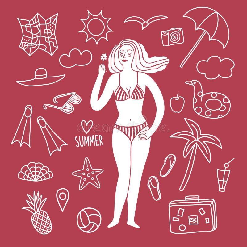 Ejemplos de la mujer y del garabato de las vacaciones de verano fijados stock de ilustración