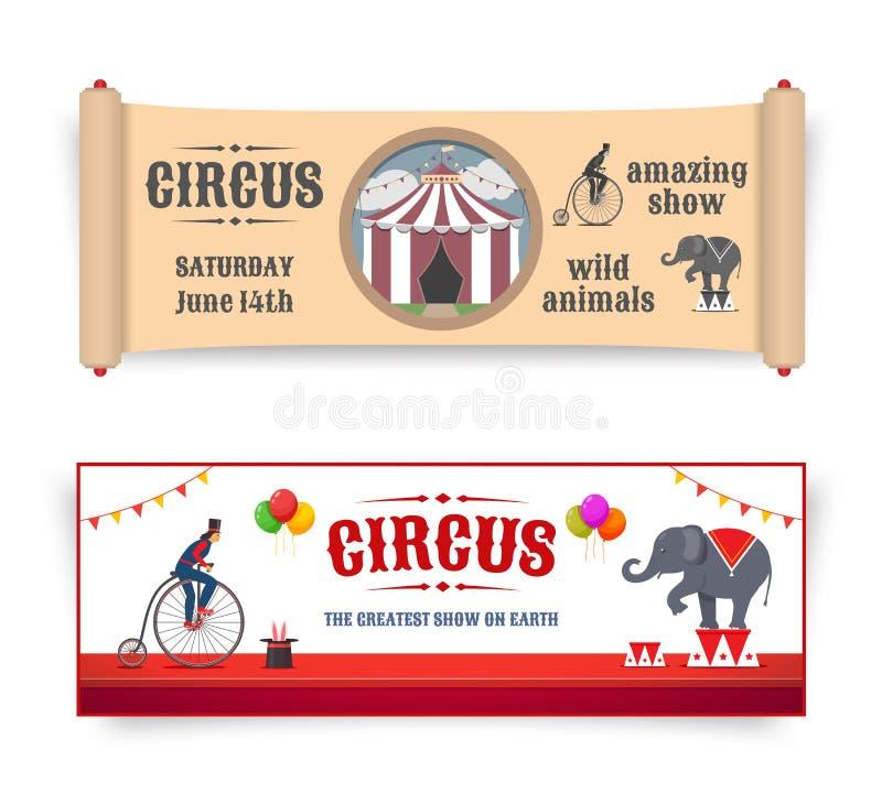 Ejemplos de las banderas del circo ilustración del vector