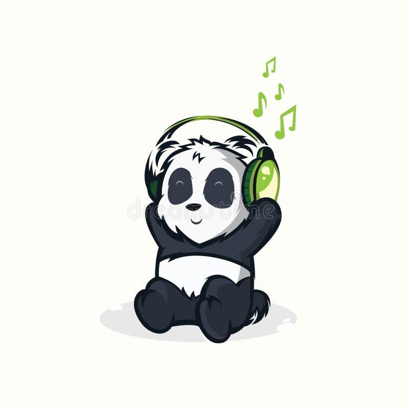 Ejemplos de las pandas divertidas que escuchan la música stock de ilustración