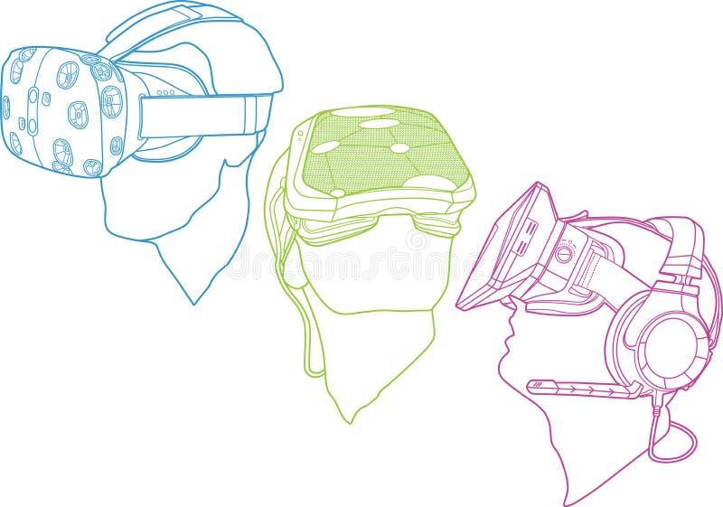 Ejemplos de los cascos de la realidad virtual stock de ilustración