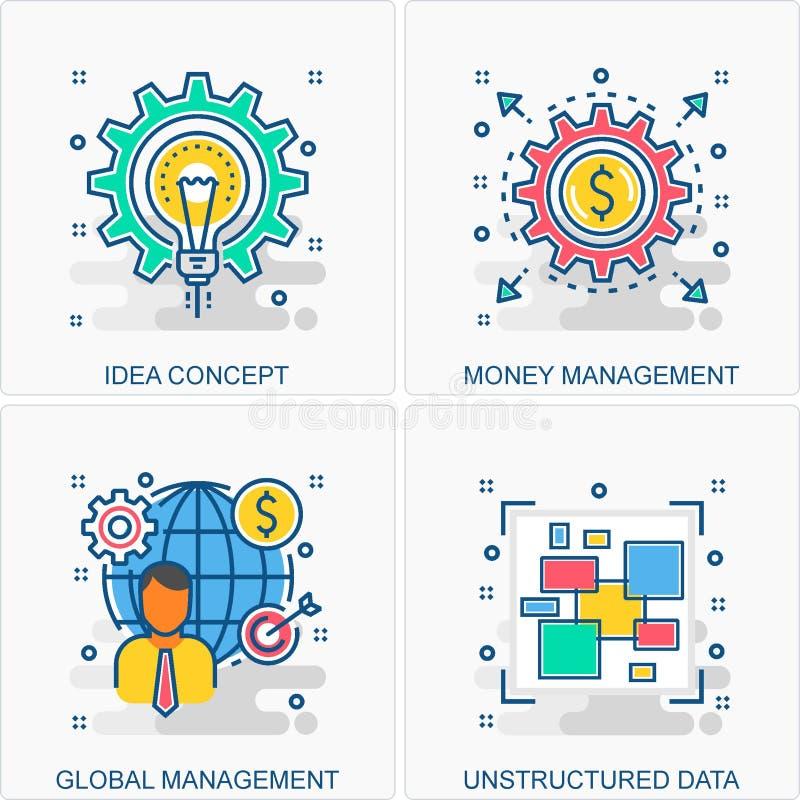 Ejemplos de los iconos y de los conceptos del negocio ilustración del vector
