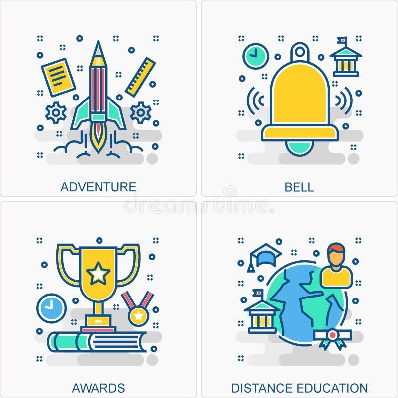 Ejemplos de los iconos y de los conceptos de la educaci?n ilustración del vector