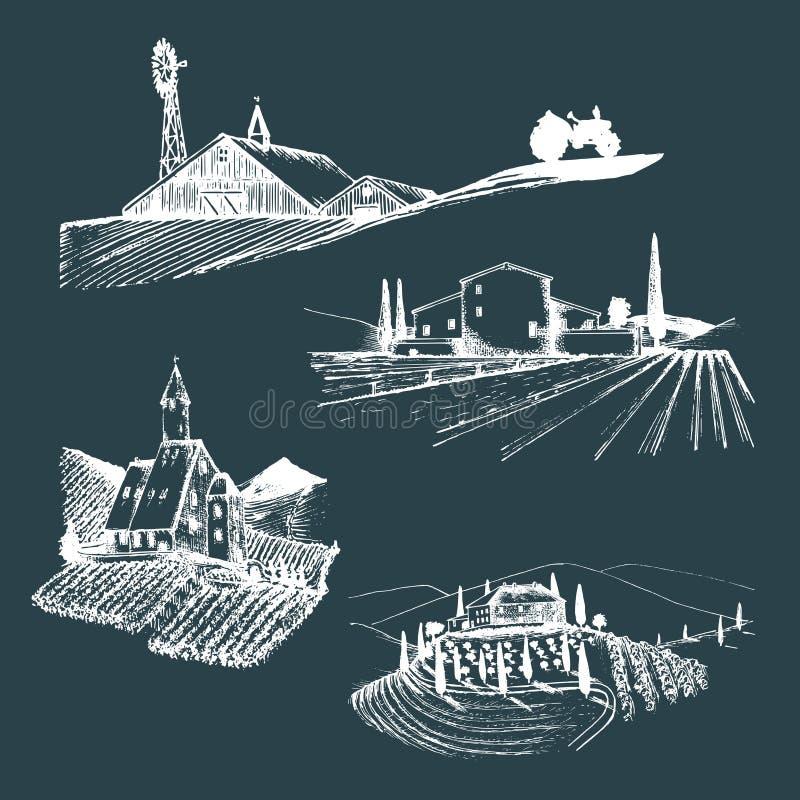 Ejemplos de los paisajes de la granja del vector fijados Bosquejos del chalet, viñedo, abadía, granja agrícola en las montañas, c libre illustration