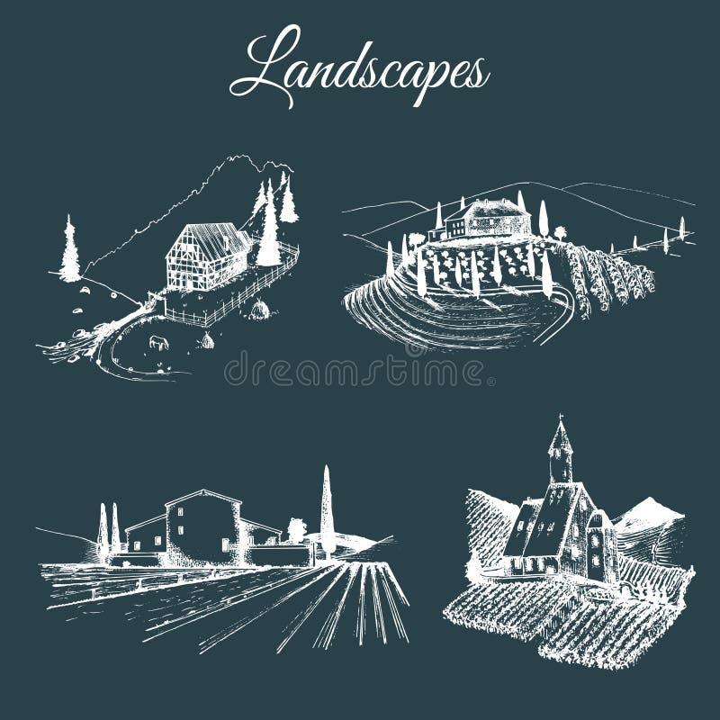 Ejemplos de los paisajes de la granja del vector fijados Bosquejos del chalet, viñedo, abadía, granja agrícola en las montañas, c stock de ilustración