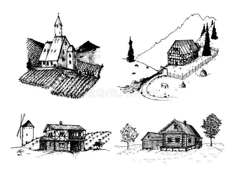 Ejemplos de los paisajes de la granja del vector fijados Bosquejos del viñedo, de la abadía, de la granja en montañas, de campos  libre illustration
