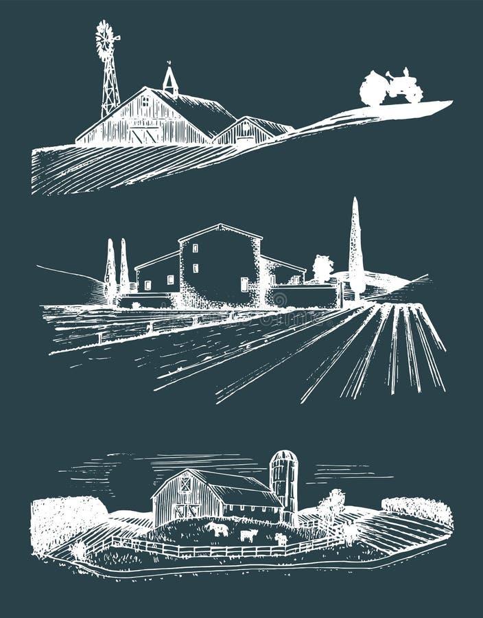 Ejemplos de los paisajes de la granja del vector fijados Campo dibujado mano Dibujos del chalet, casa de los campesinos en campos ilustración del vector