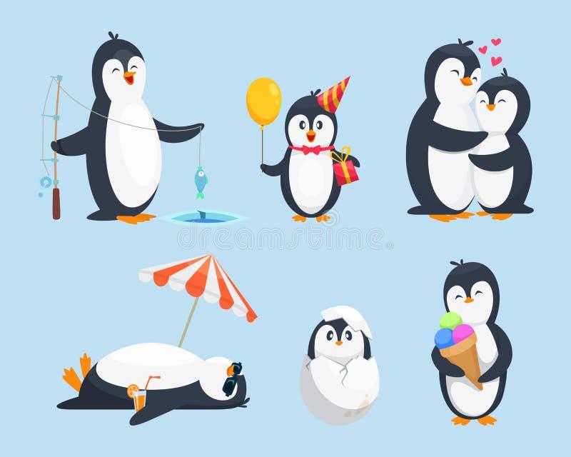 Ejemplos de los pinguins del bebé en diversas actitudes Imágenes de la historieta del vector ilustración del vector