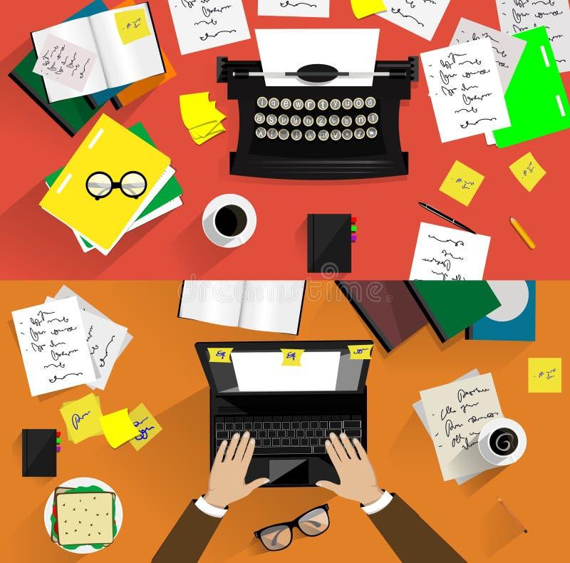 Ejemplos de máquinas de escribir retras Conceptos de libre illustration