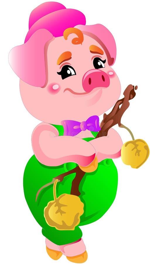 Ejemplos de risa del cerdo de la pequeña pequeña historieta rosada linda fotografía de archivo libre de regalías