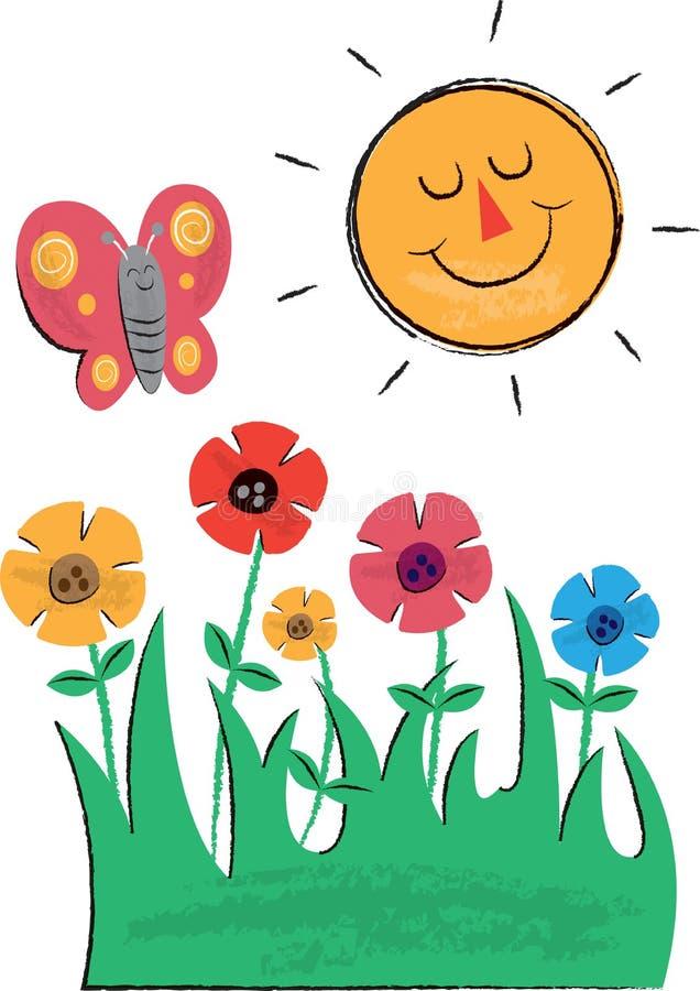 Ejemplos de Sun, de las flores y de los niños de la mariposa ilustración del vector