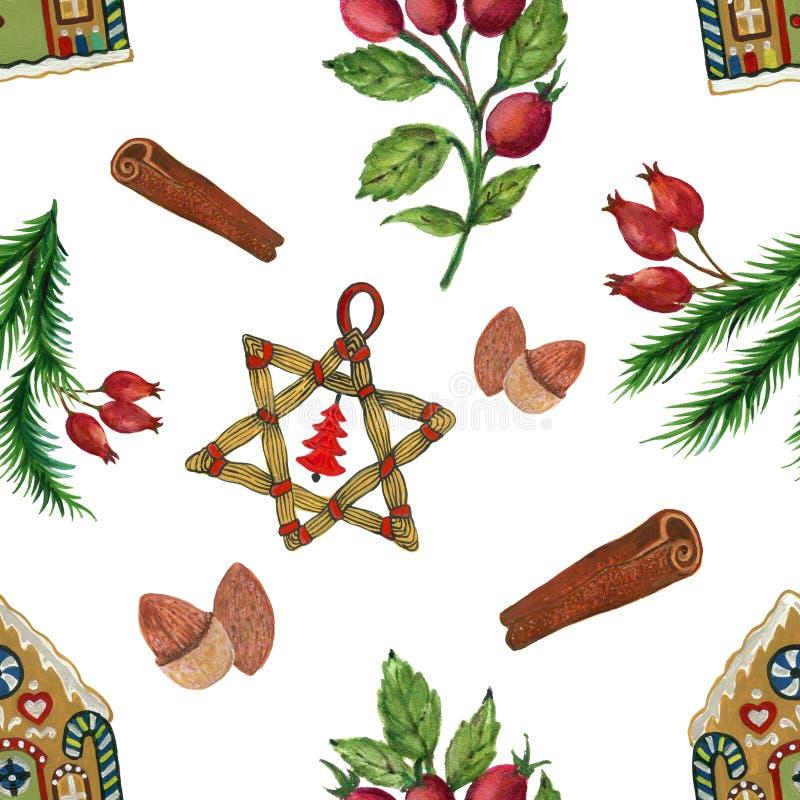 Ejemplos del aguazo de la acuarela del modelo de la fiesta de Navidad del vintage de las decoraciones de la Navidad imagen de archivo