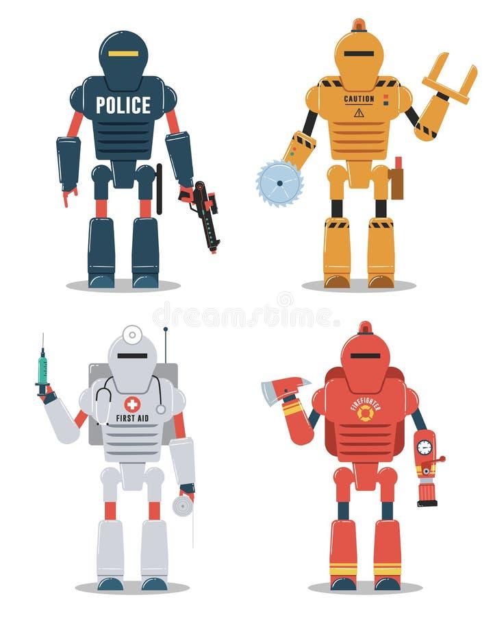 Ejemplos del carácter del robot Policía, construcción, médica, robot del bombero libre illustration