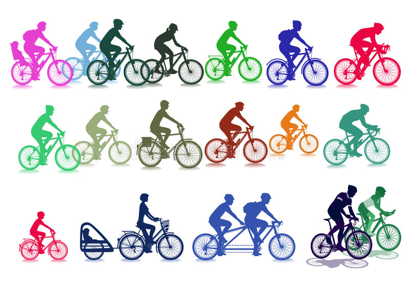Ejemplos del ciclista ilustración del vector