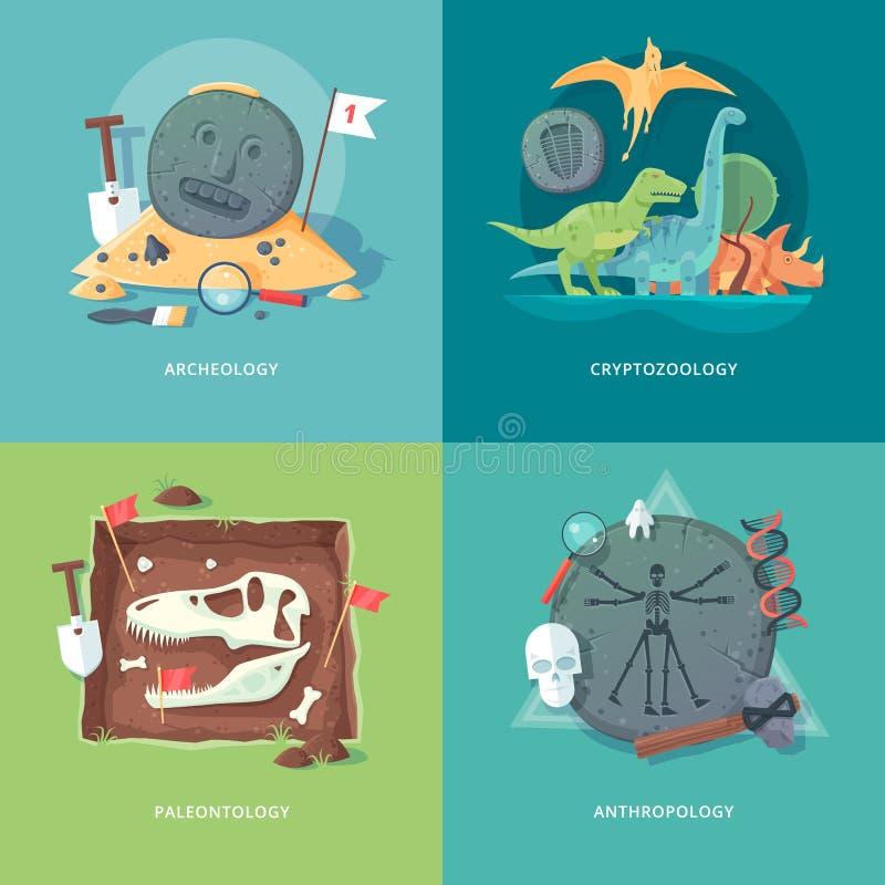 Ejemplos del concepto de la educación y de la ciencia ilustración del vector