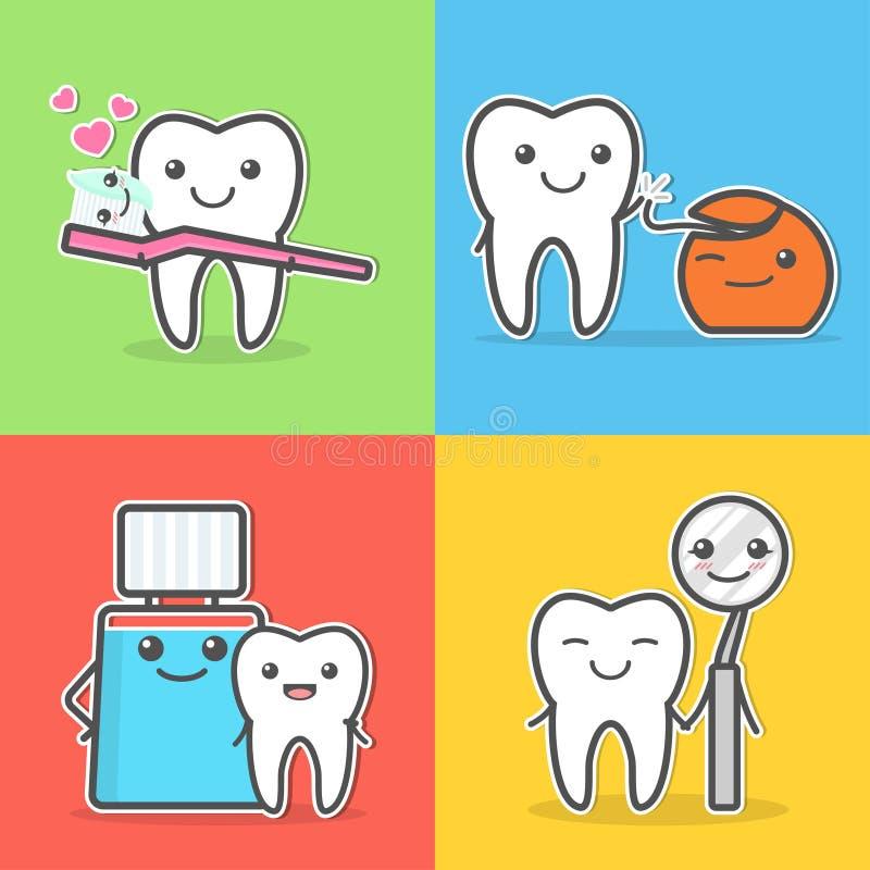 Ejemplos del cuidado y de la higiene de los dientes de la historieta libre illustration