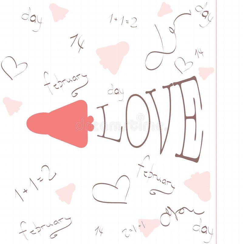 Ejemplos del día de tarjetas del día de San Valentín imagen de archivo