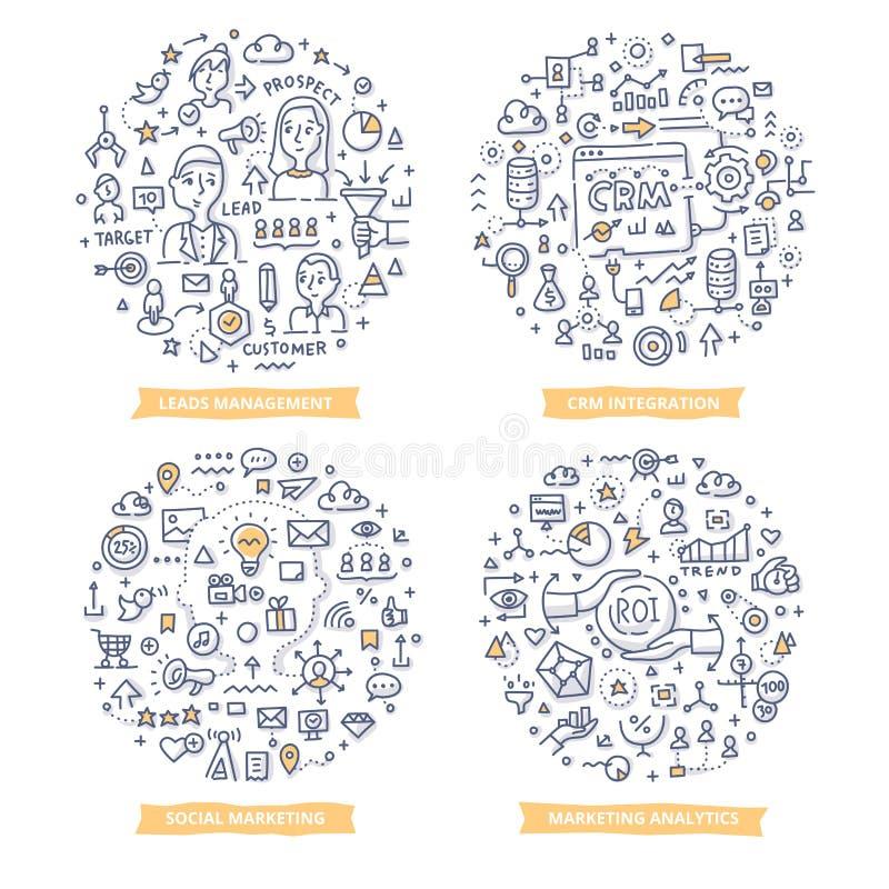 Ejemplos del garabato de la automatización del márketing Conjunto 2 libre illustration