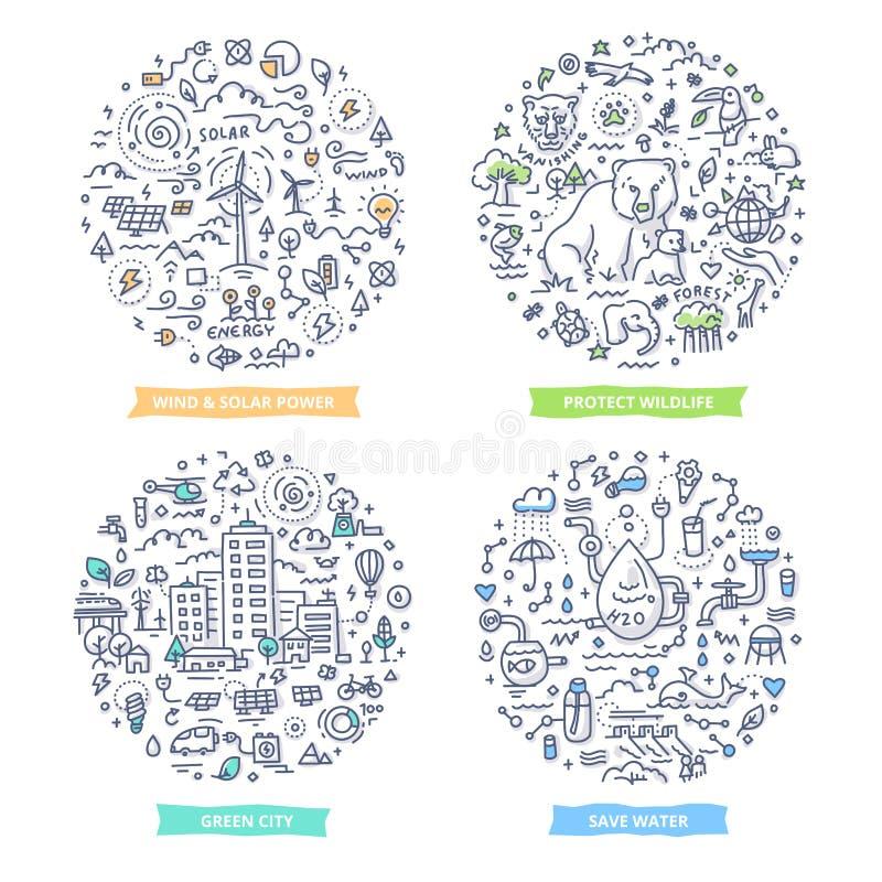 Ejemplos del garabato de la ecología stock de ilustración