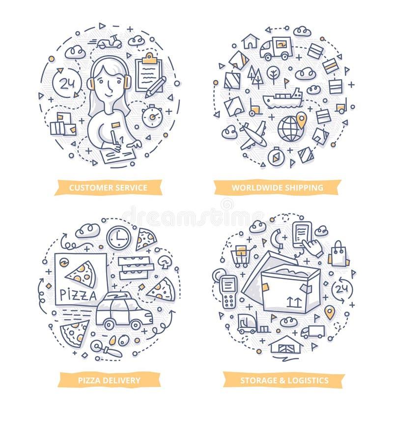 Ejemplos del garabato de la entrega ilustración del vector