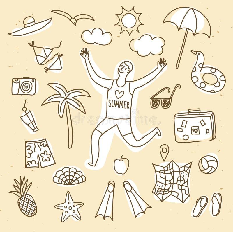 Ejemplos del garabato de las vacaciones de verano fijados libre illustration