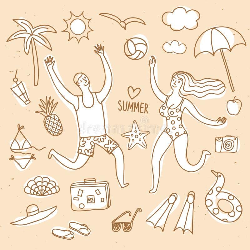 Ejemplos del garabato de las vacaciones de verano fijados y pares stock de ilustración
