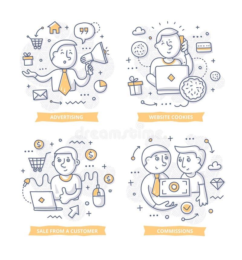 Ejemplos del garabato del márketing del afiliado stock de ilustración