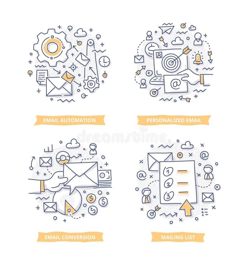 Ejemplos del garabato del márketing del correo electrónico stock de ilustración