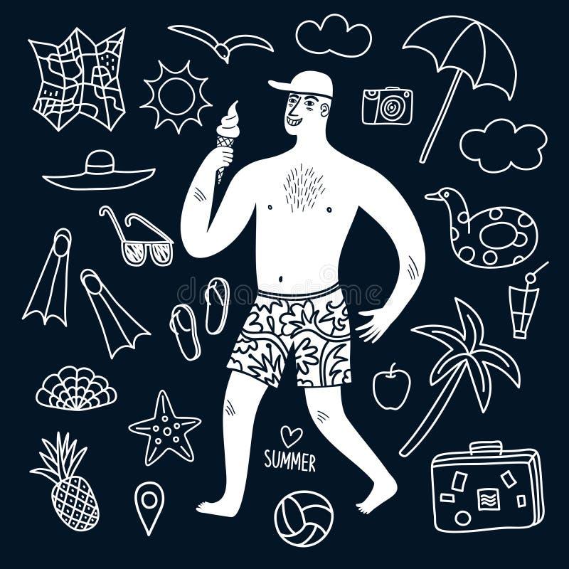 Ejemplos del hombre y del garabato de las vacaciones de verano fijados ilustración del vector