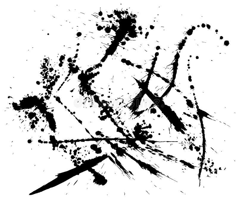 ejemplos del movimiento del cepillo Arte de la tinta ilustración del vector