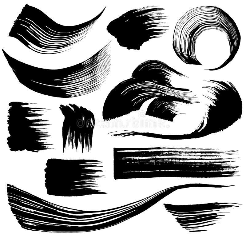 ejemplos del movimiento del cepillo Formas dibujadas mano ilustración del vector