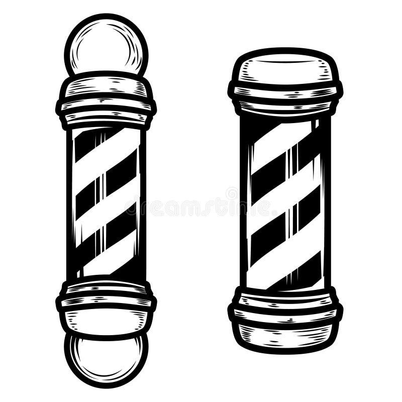 Ejemplos del polo de la peluquería de caballeros en el fondo blanco stock de ilustración