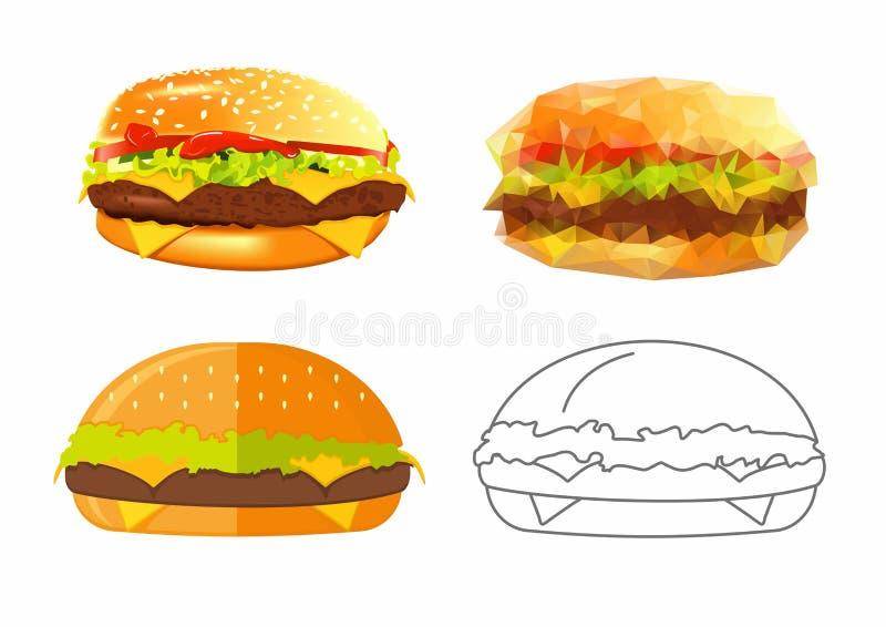 Ejemplos del vector de hamburguesas en 4 estilos Hamburguesa plana, linear, bajo-polivinílica y realista ilustración del vector