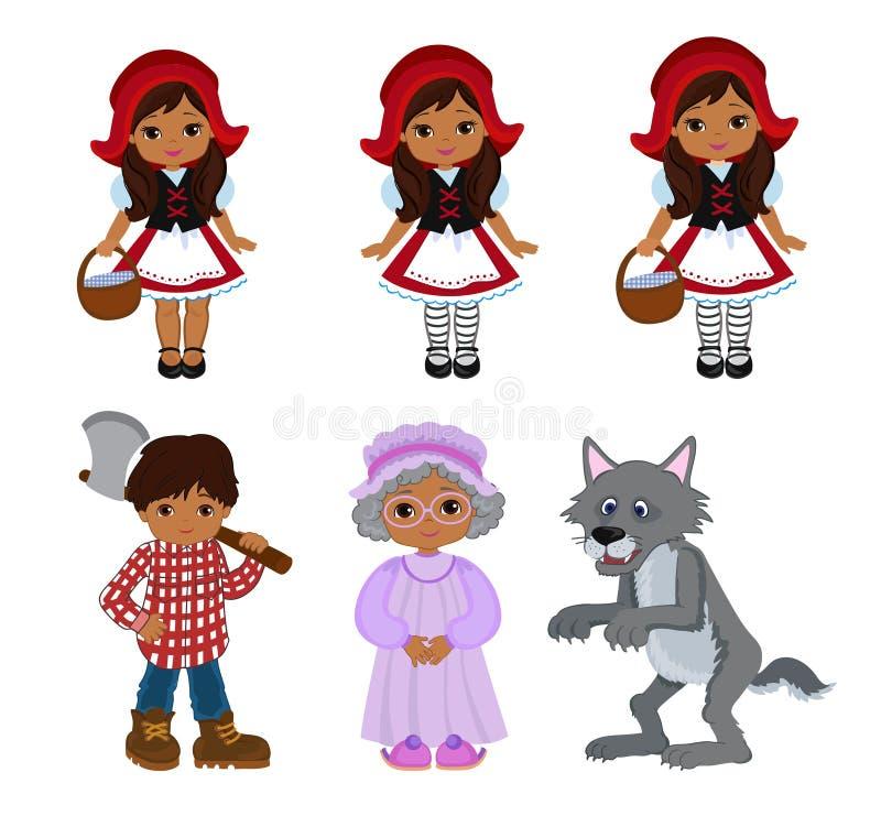 Ejemplos del vector de la historieta fijados de poco Hood Fairy Tale Characters que monta rojo libre illustration