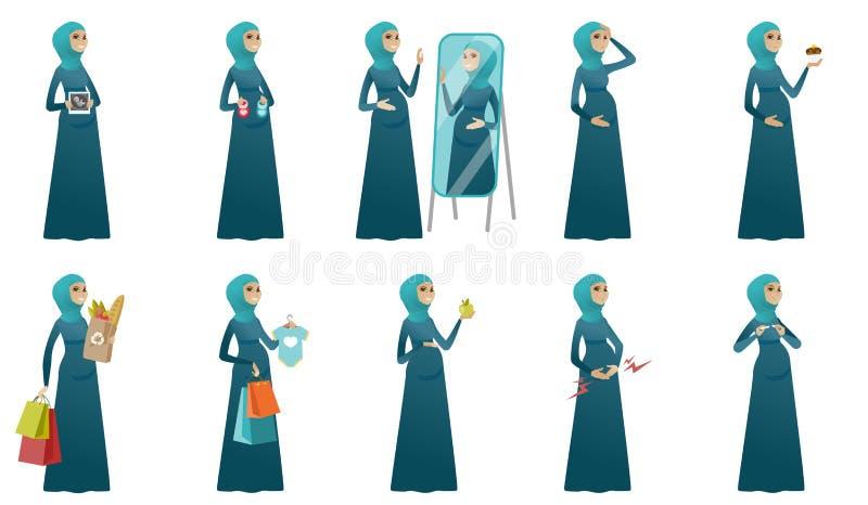 Ejemplos del vector de la mujer embarazada de los musulmanes fijados libre illustration