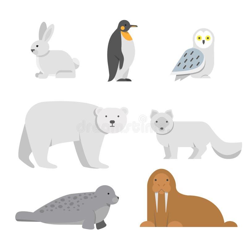 Ejemplos del vector de los animales árticos de la nieve libre illustration
