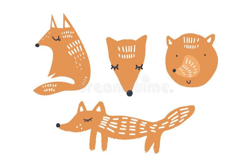 Ejemplos del vector de los zorros lindos, colección de los animales del cuarto de niños del arbolado libre illustration