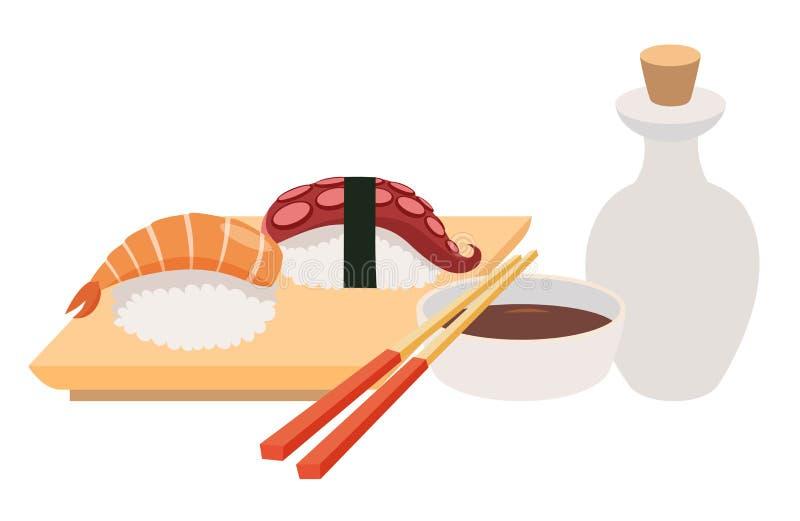 Ejemplos del vector del Sashimi y del palillo Vector de la salsa del sushi y de soja Mariscos, prendedero de pescados stock de ilustración