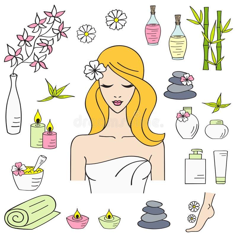 Ejemplos del vector del tratamiento hermoso del balneario de la mujer stock de ilustración