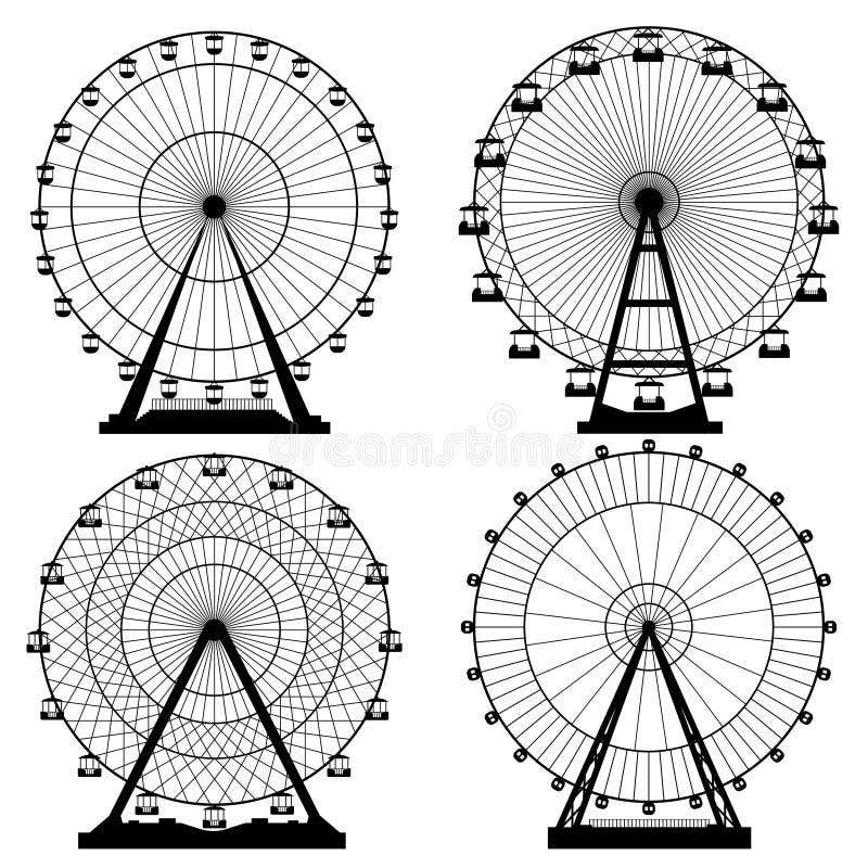 Ejemplos del vector fijados Ferris Wheel Fondo del funfair del carnaval Formato EPS10 stock de ilustración
