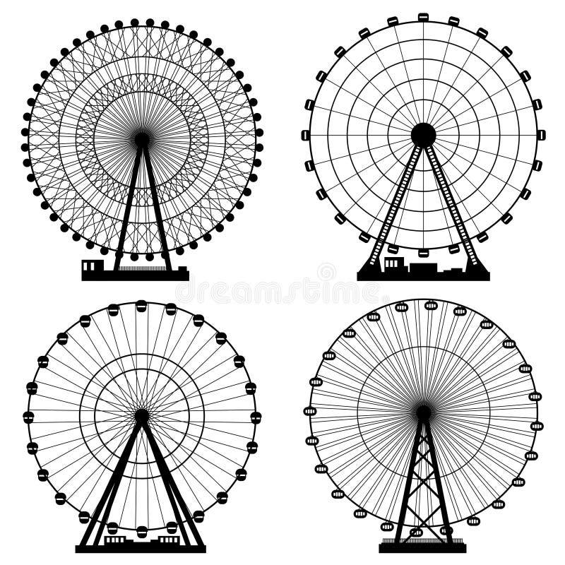 Ejemplos del vector fijados Ferris Wheel Fondo del funfair del carnaval Formato EPS10 ilustración del vector