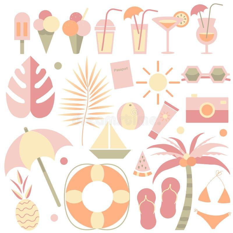 Ejemplos del verano fijados Hola verano Elementos del verano El sistema de tropical, playa, helado, cóctel, viaje, da fruto los e stock de ilustración