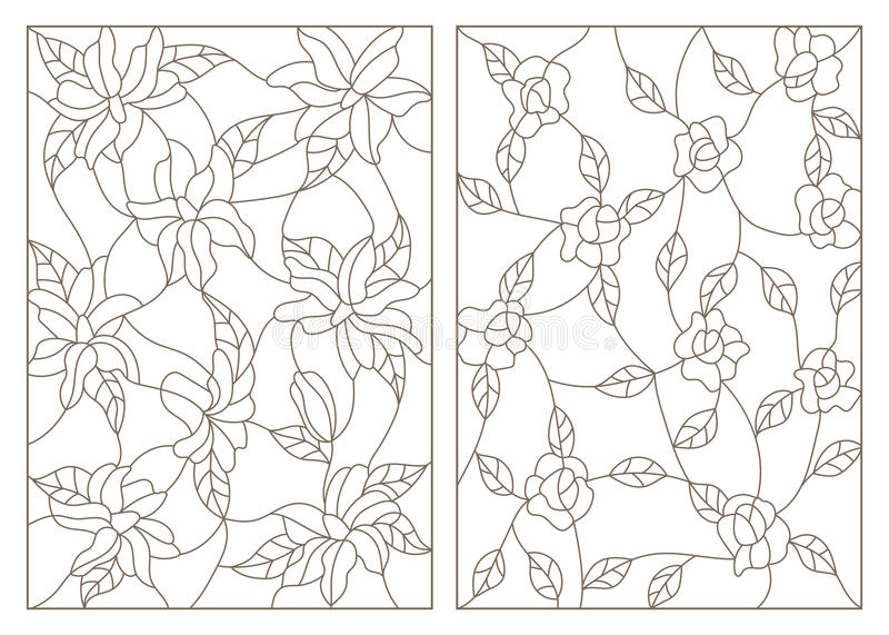 Ejemplos determinados del contorno en el estilo del vitral, flores abstractas de rosas y lirios, esquema oscuro en un fondo blanc stock de ilustración
