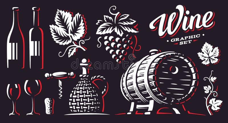 Ejemplos determinados del vector del vino en fondo oscuro stock de ilustración