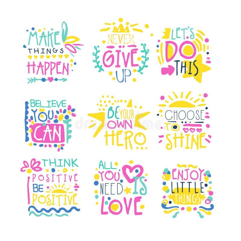 Ejemplos dibujados mano colorida positiva corta del vector de los mensajes ilustración del vector