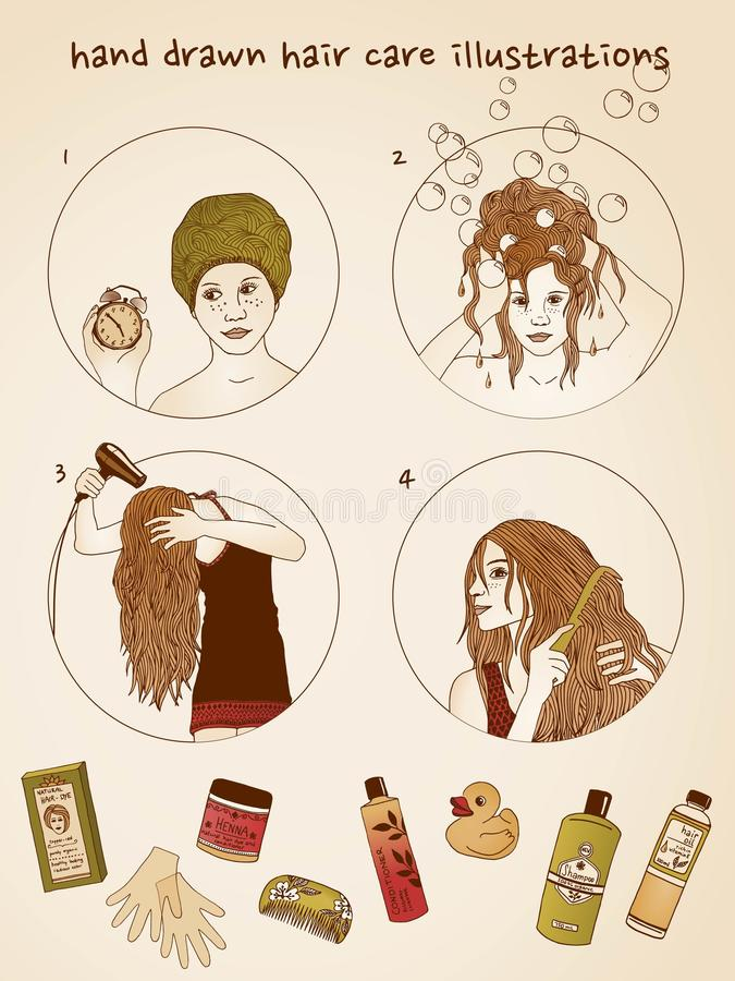 Ejemplos dibujados mano del cuidado del cabello ilustración del vector