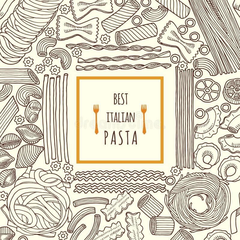 Ejemplos dibujados mano del vector de la comida Pastas italianas tradicionales Menú del fondo ilustración del vector